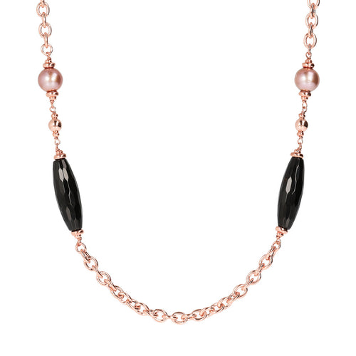 MAXIMA SHINY OVAL ROLO CHANEL NECKLACE WITH BLACK FACETED GEMSTONE & CULTURED PEARL - WSBZ01541