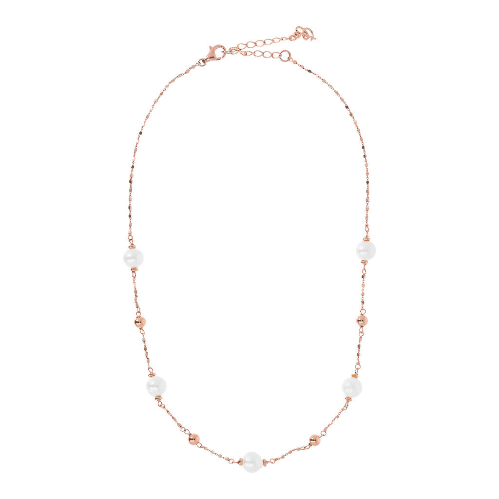 MAXIMA VARIEGATA DIAMOND CUT CUBETTO NECKLACE WITH MING CULTURED PEARLS  - WSBZ01658 intero