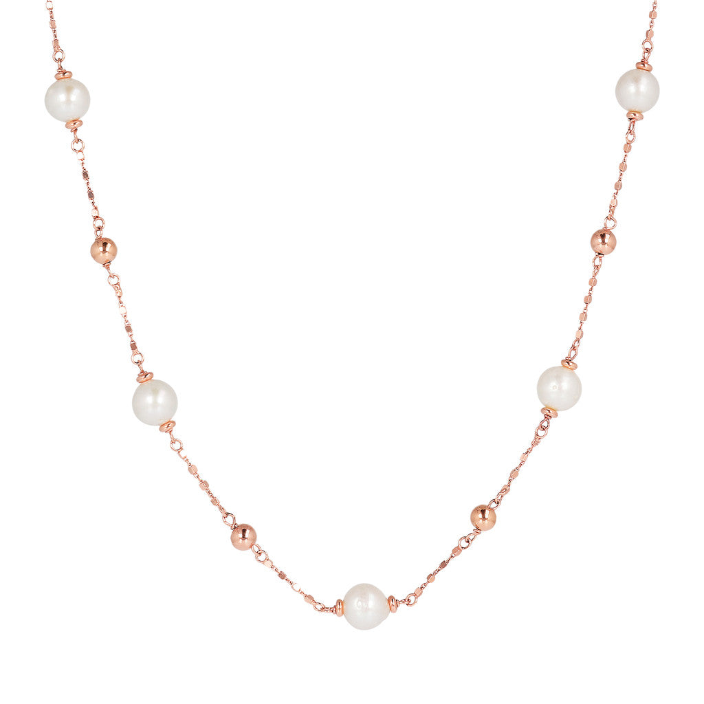 MAXIMA VARIEGATA DIAMOND CUT CUBETTO NECKLACE WITH MING CULTURED PEARLS  - WSBZ01658