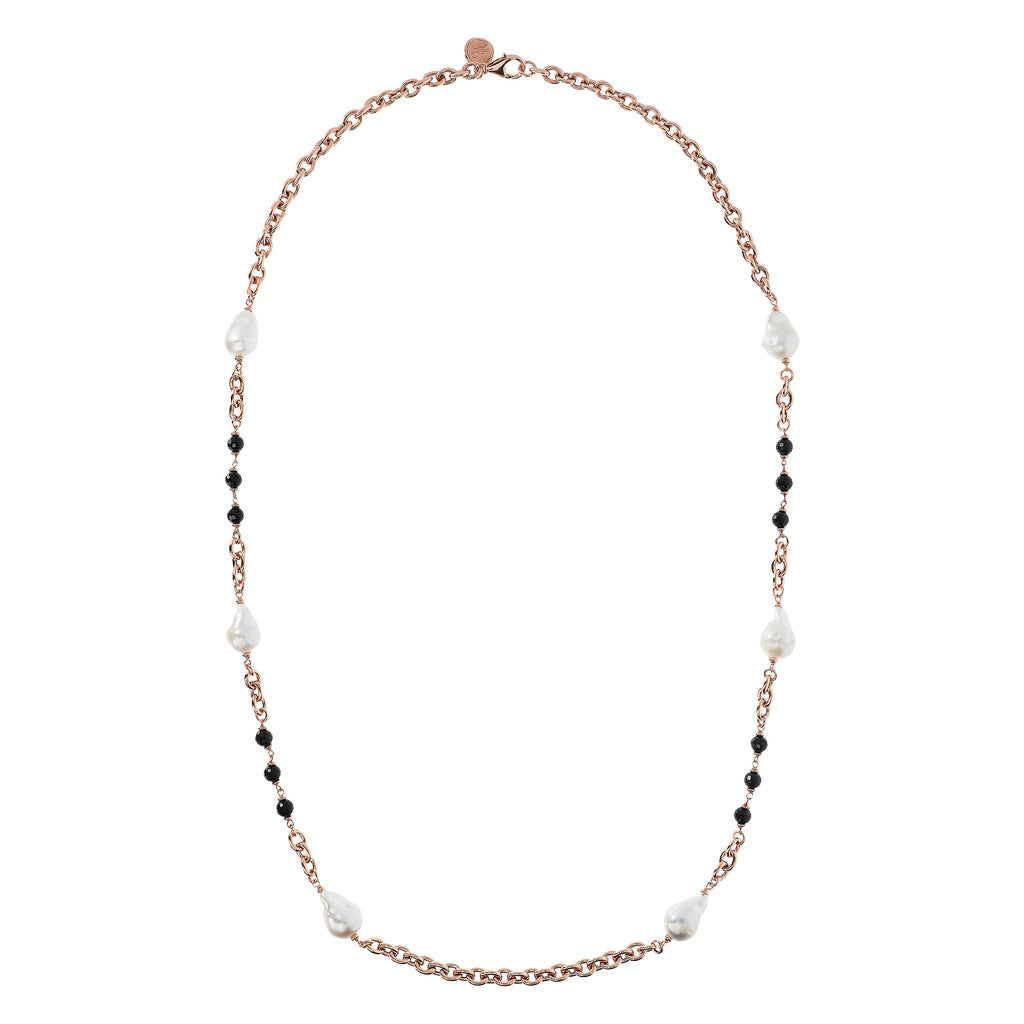 MAXIMA VARIEGATA SHINY OVAL ROLO WITH CULTURED PEARL AND BLACK SPINEL GEMSTONE NECKLACE - WSBZ01675 intero