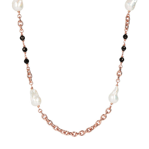 MAXIMA VARIEGATA SHINY OVAL ROLO WITH CULTURED PEARL AND BLACK SPINEL GEMSTONE NECKLACE - WSBZ01675