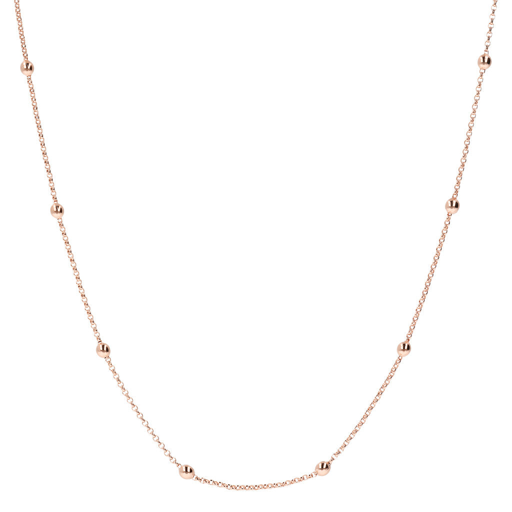 MINI ROLò CHAIN WITH SHINY BEAD NECKLACE - WSBZ01496