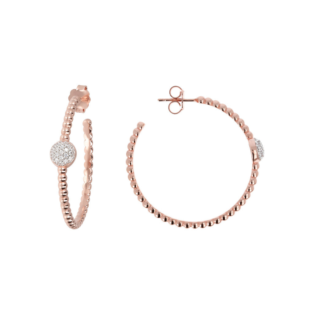 Orecchini a Cerchio Beads e CZ in Golden Rose frontale e laterale