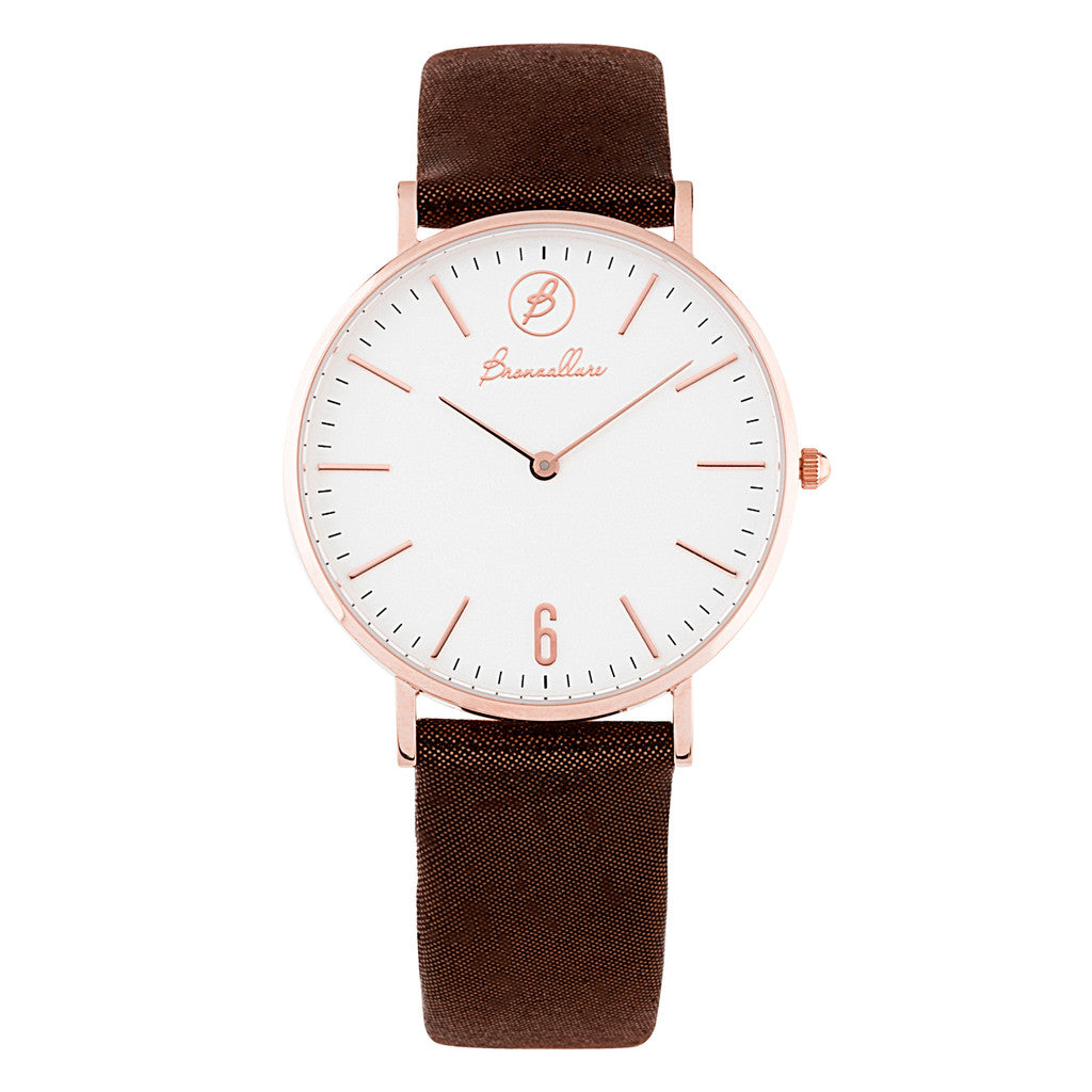 Orologio Indici Quadrante Bianca con BROWN LEATHER