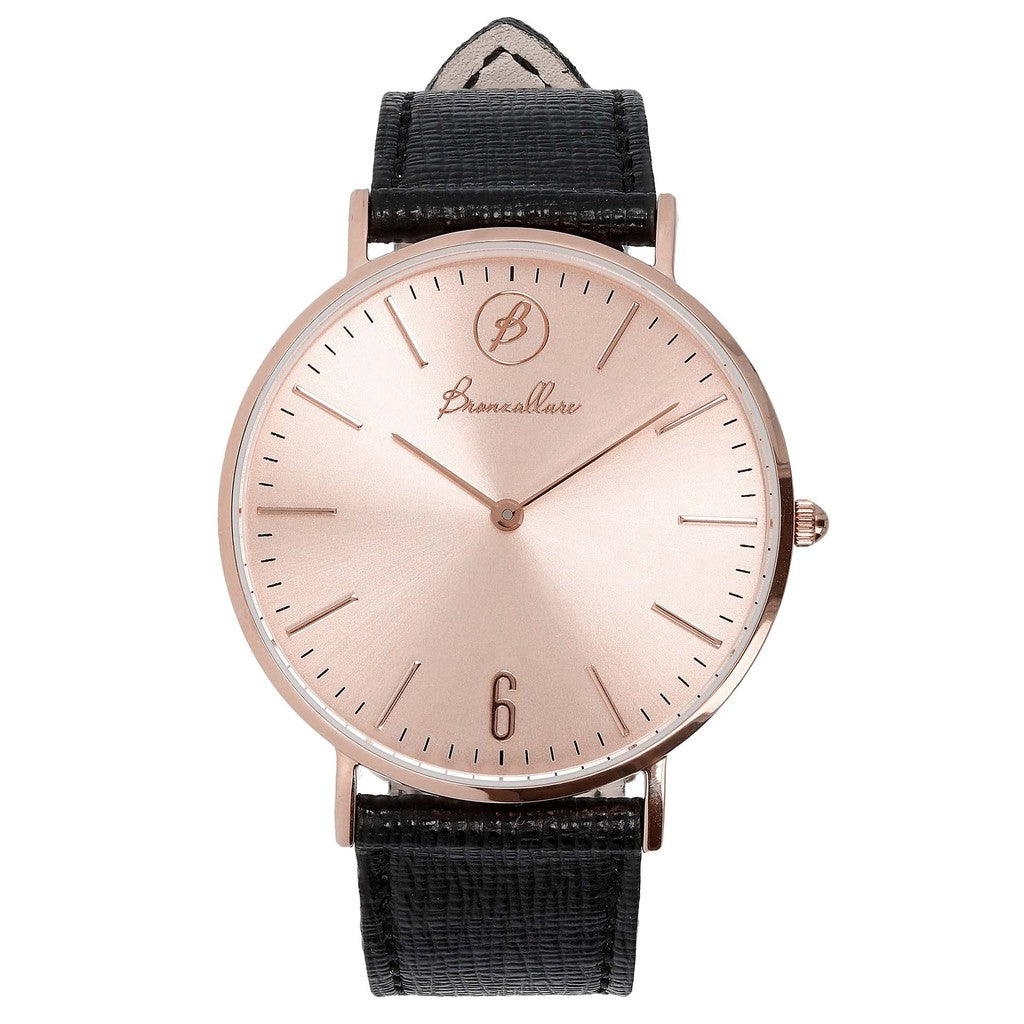 Orologio Indici Quadrante Rosa con BLACK LEATHER