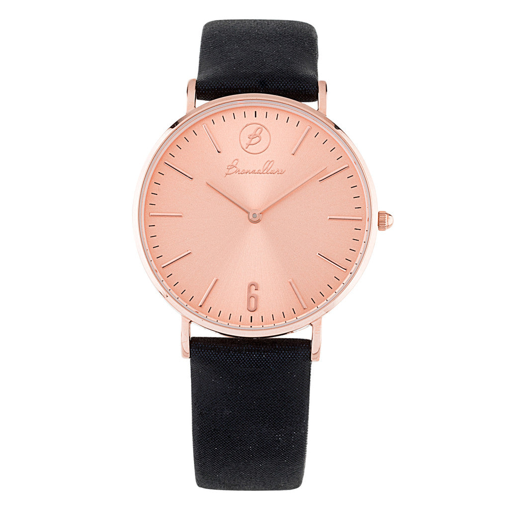 Orologio Indici Quadrante Rosa con BLUE LEATHER
