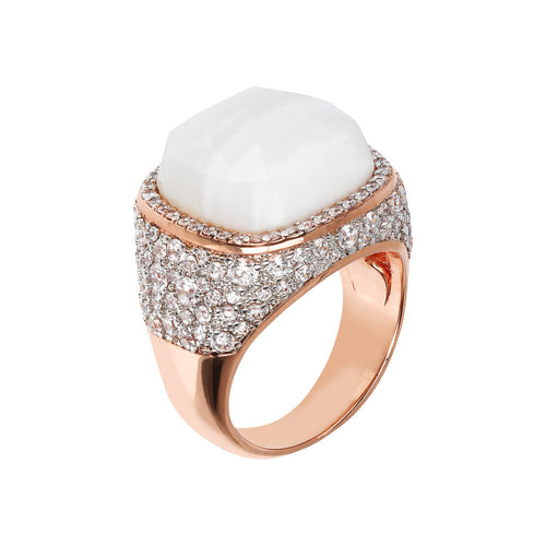 PREZIOSA ADJUSTABLE RING WITH WHITE LACE AGATE AND WHITE CZ PAVE' - WSBZ01586