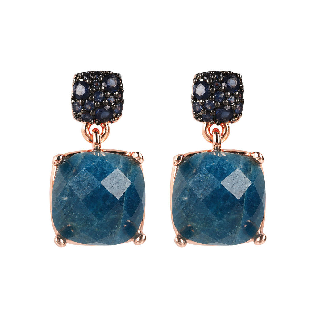 PREZIOSA SUQARED STONE EARRINGS WITH TOP CZ PAVè - WSBZ01760 con APATITE