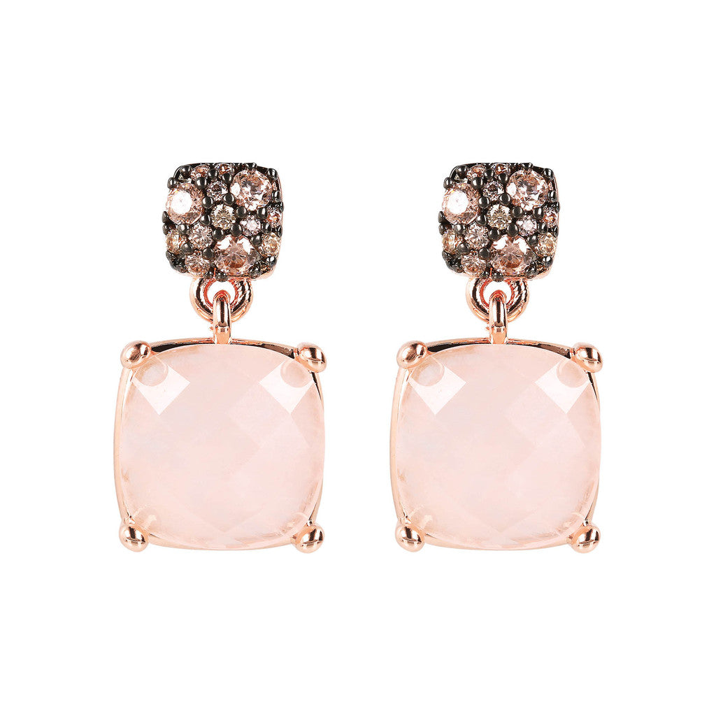 PREZIOSA SUQARED STONE EARRINGS WITH TOP CZ PAVè - WSBZ01760 con QUARZO ROSA