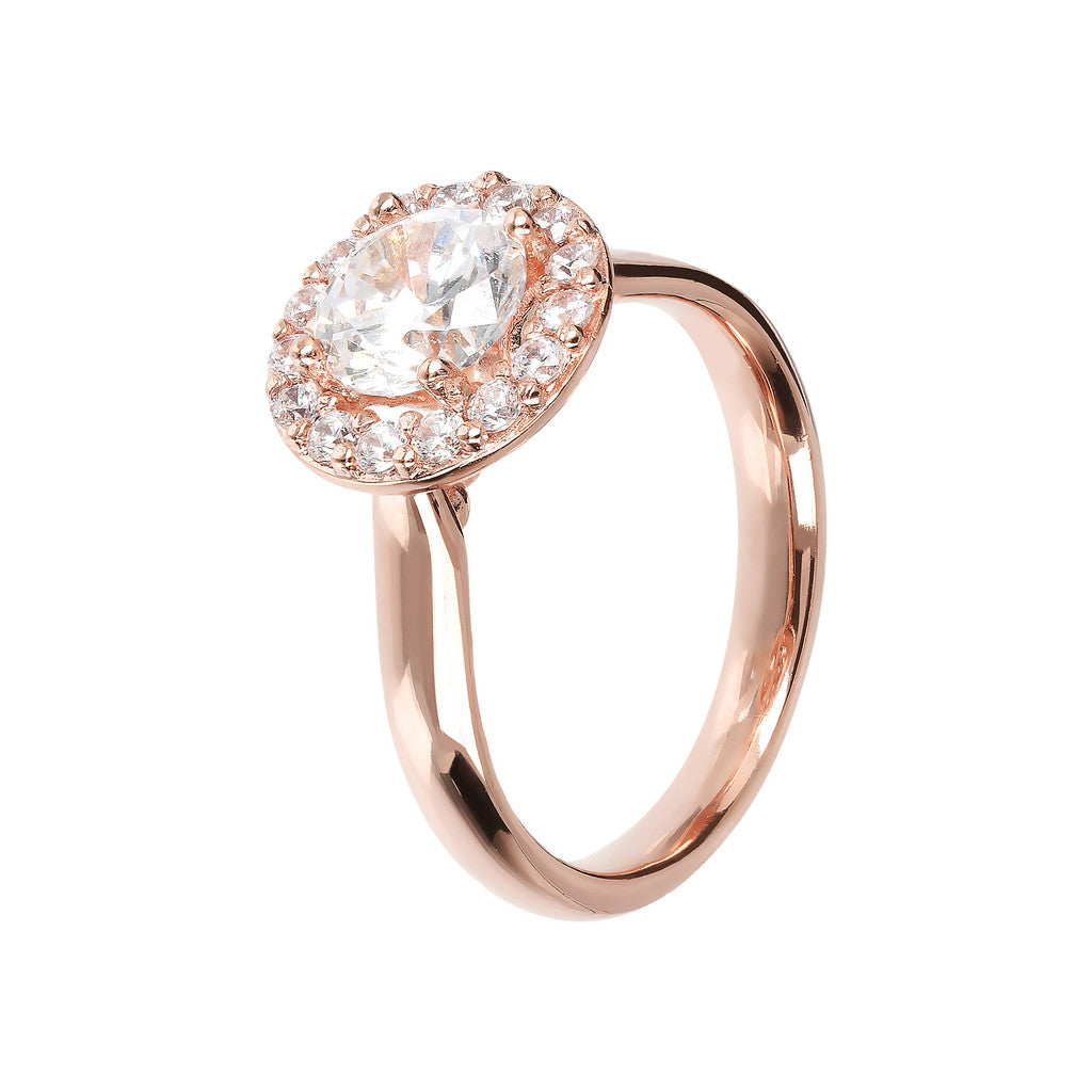 Solitario Maxi Golden Rose e Cubic Zirconia