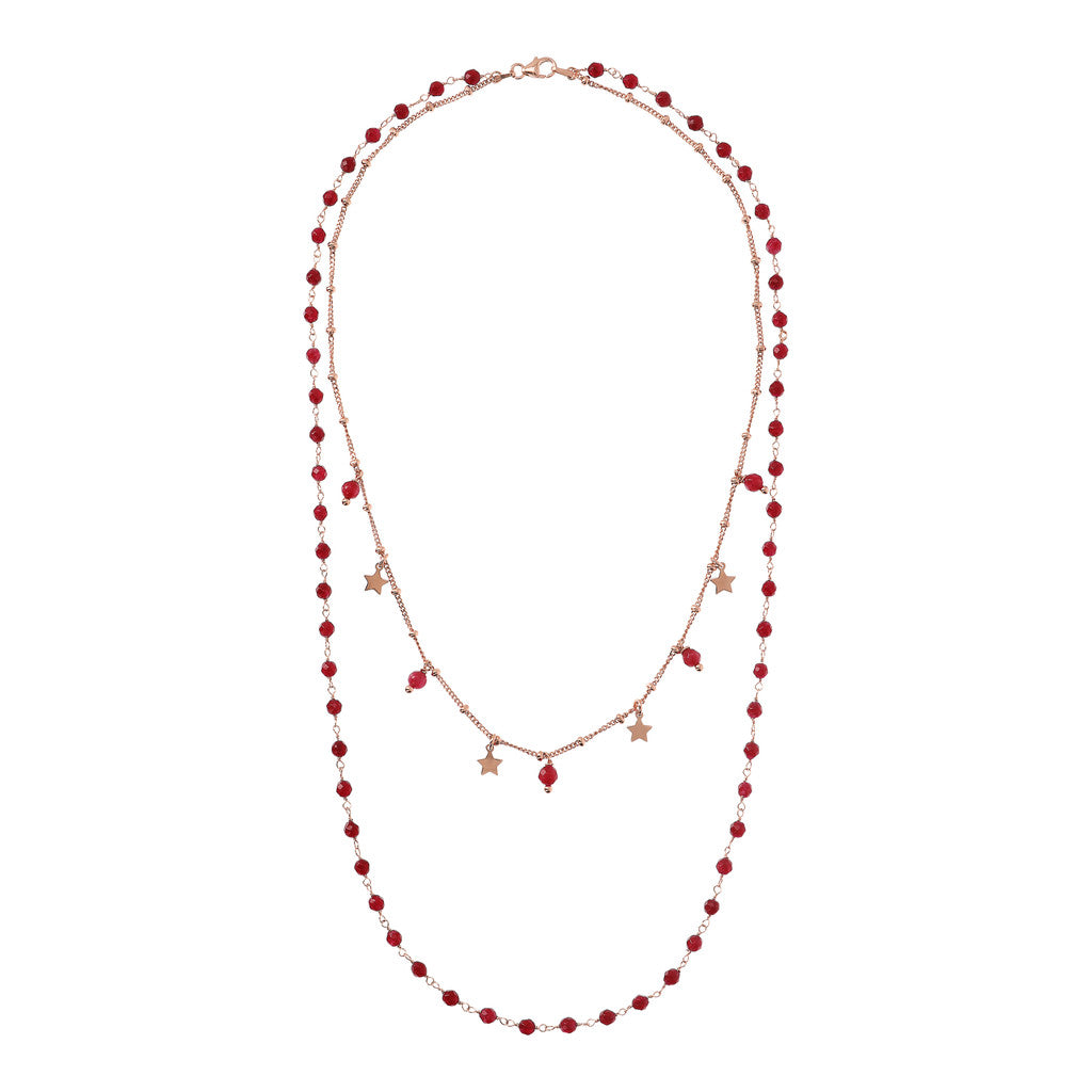 VARIEGATA 2 STRANDS NECKLACE WITH TUORMALINE GEMSTONE - WSBZ01794