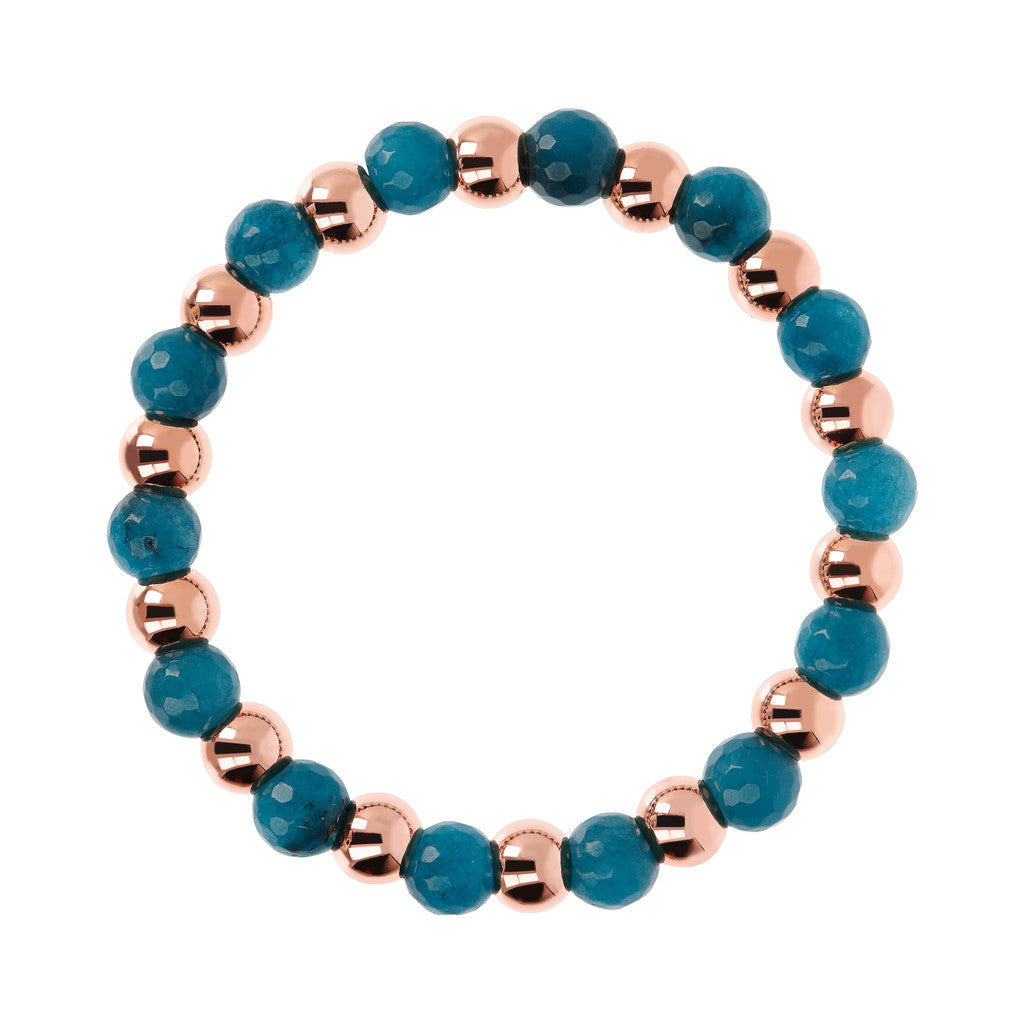 VARIEGATA ALTERNATE POLISHED BEAD AND PLAIN ROUND GEMSTONE ELASTIC BRACELET - WSBZ01723 con CALCEDONIO AZZURRO