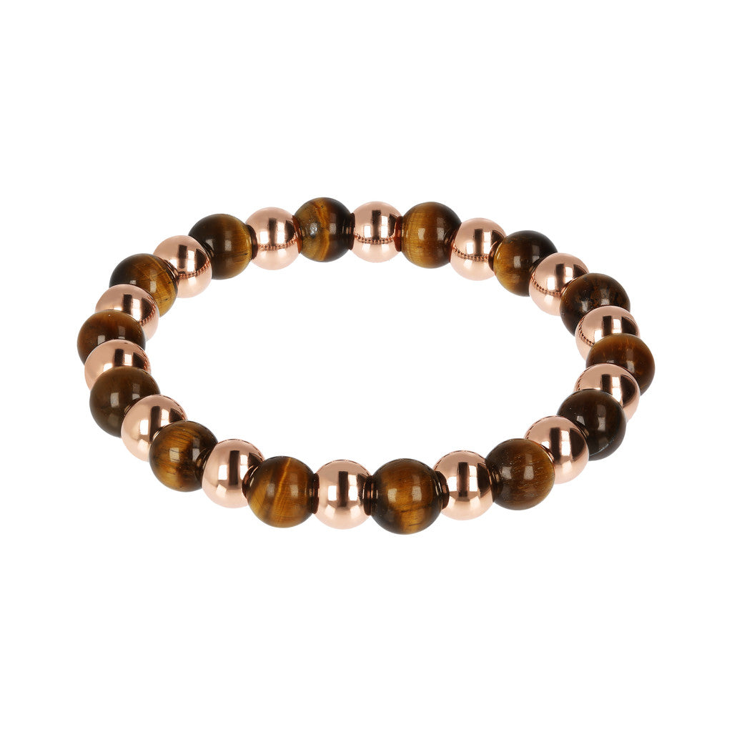 VARIEGATA ALTERNATE POLISHED BEAD AND PLAIN ROUND GEMSTONE ELASTIC BRACELET - WSBZ01723 con OCCHIO DI TIGRE