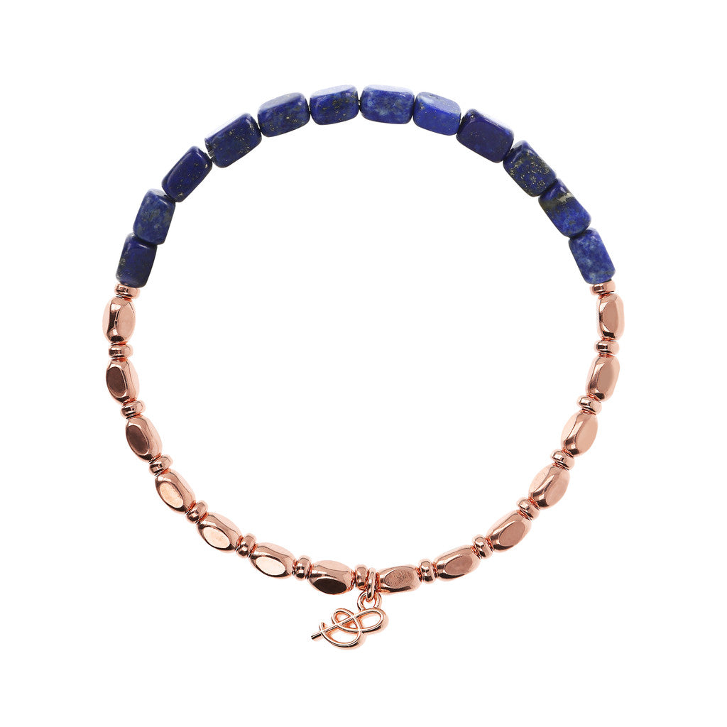 VARIEGATA CHOICE OF GEMSTONE STRETCHABLE BRACELET - WSBZ01655 con LAPIS