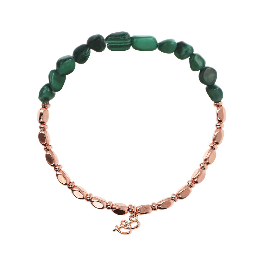 VARIEGATA CHOICE OF GEMSTONE STRETCHABLE BRACELET - WSBZ01655 con MALACHITE