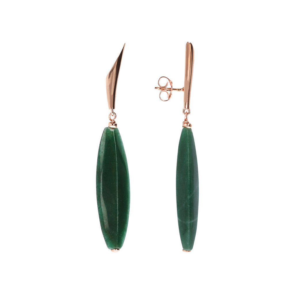 VARIEGATA DANGLE EARRING WITH FANCY TOP AND BARREL ALMOND CUT GREEN AGATE GEMSTONE - WSBZ01486 frontale e laterale
