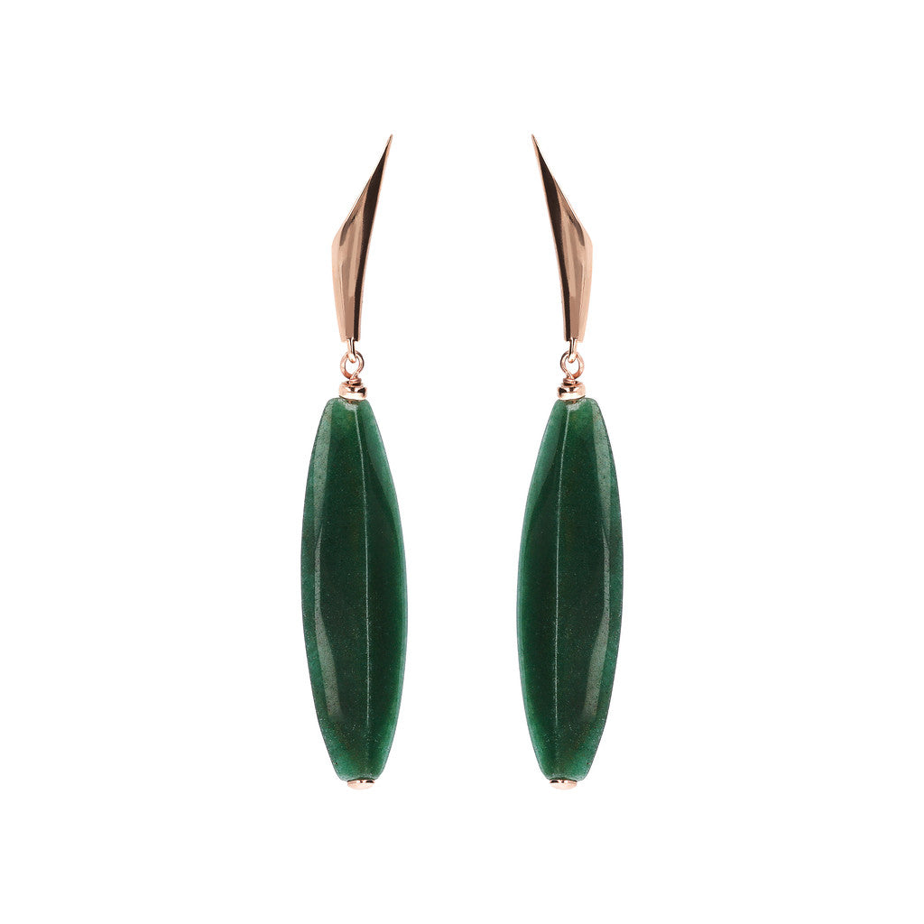 VARIEGATA DANGLE EARRING WITH FANCY TOP AND BARREL ALMOND CUT GREEN AGATE GEMSTONE - WSBZ01486