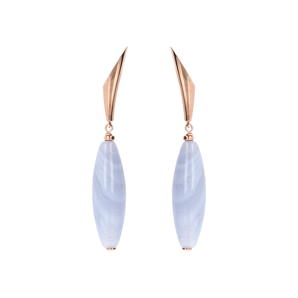 VARIEGATA DANGLE EARRING WITH FANCY TOP AND BARREL OVAL BLUE LACE GEMSTONE - WSBZ01485