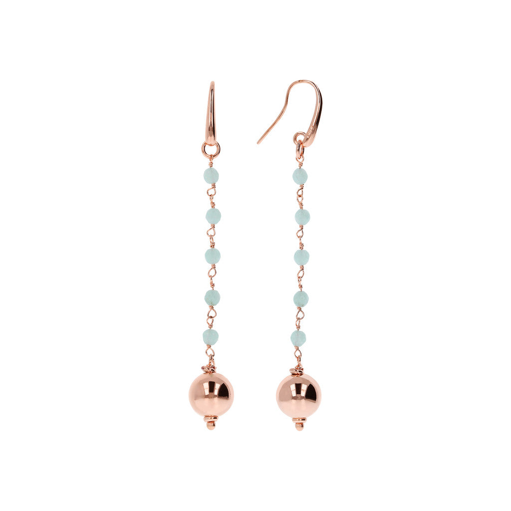 VARIEGATA DANGLE EARRING WITH  - WSBZ01355 con QUARZITE AZZURRA CHIARA frontale e laterale