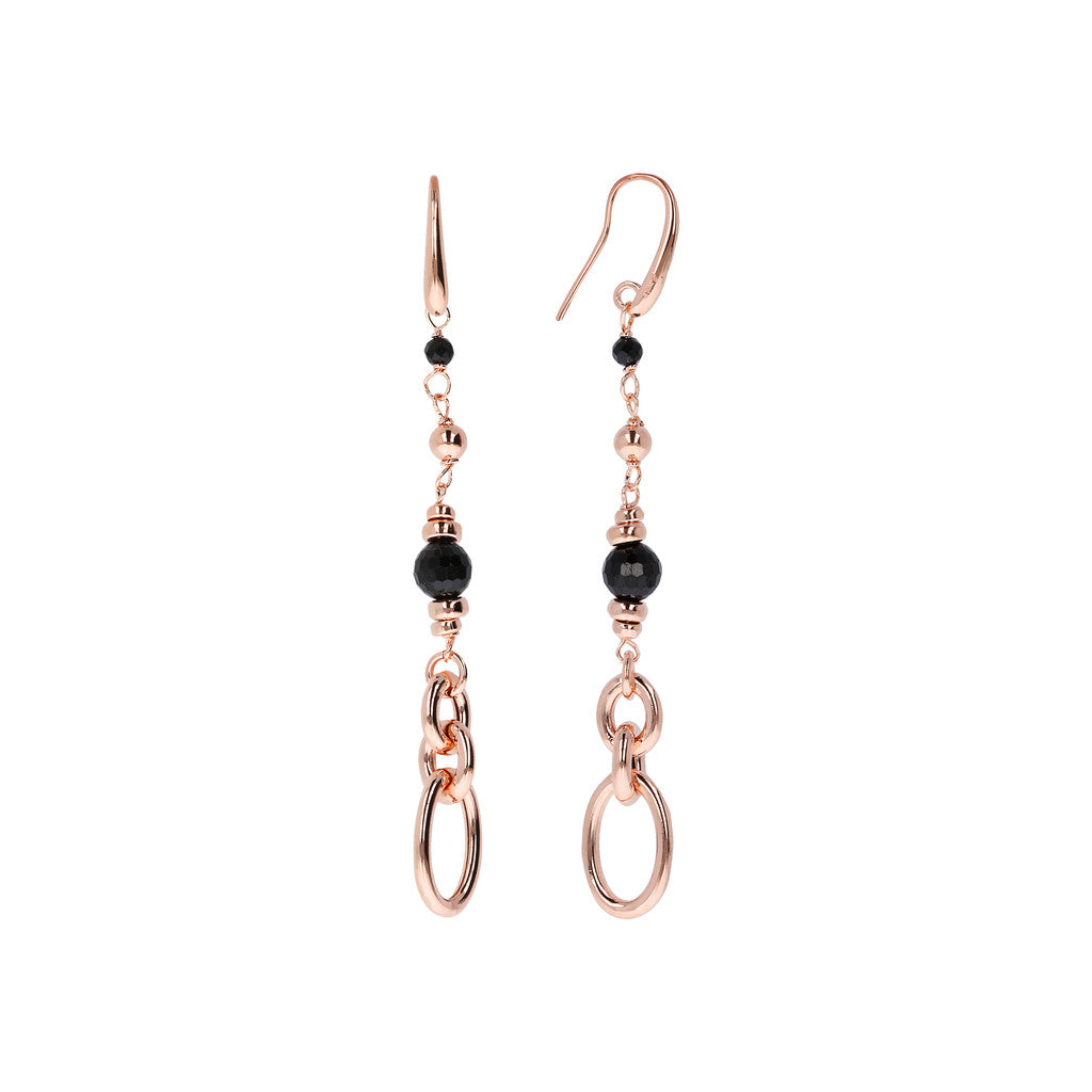 VARIEGATA FACETED GEMSTONE DANGLE EARRINGS - WSBZ01405 con SPINELLO NERO frontale e laterale