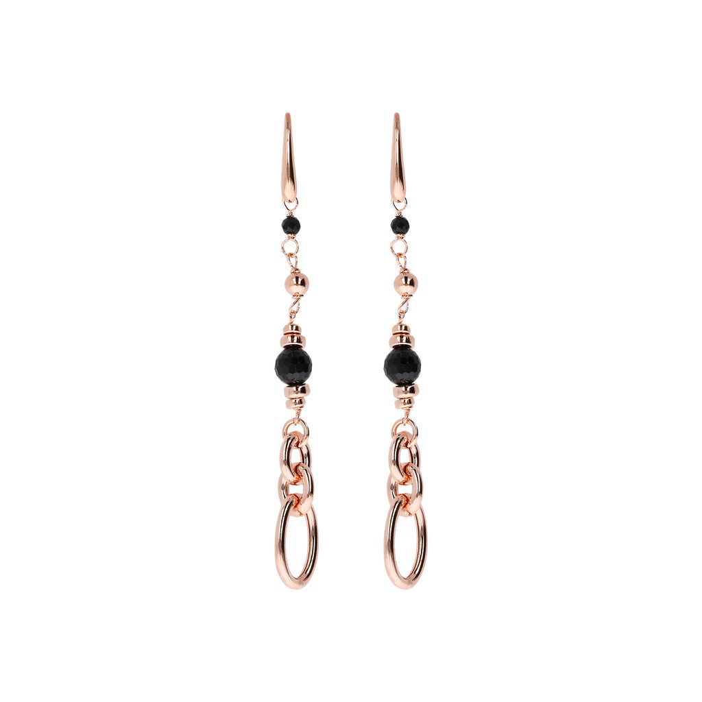 VARIEGATA FACETED GEMSTONE DANGLE EARRINGS - WSBZ01405 con SPINELLO NERO