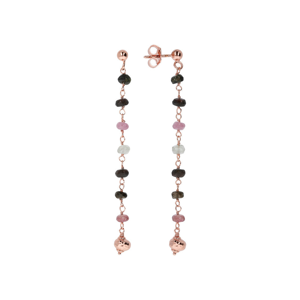 VARIEGATA FACETED ROUNDEL TOURMALINE ROSARY  GEMSTONE NECKLACE - WSBZ01334 frontale e laterale
