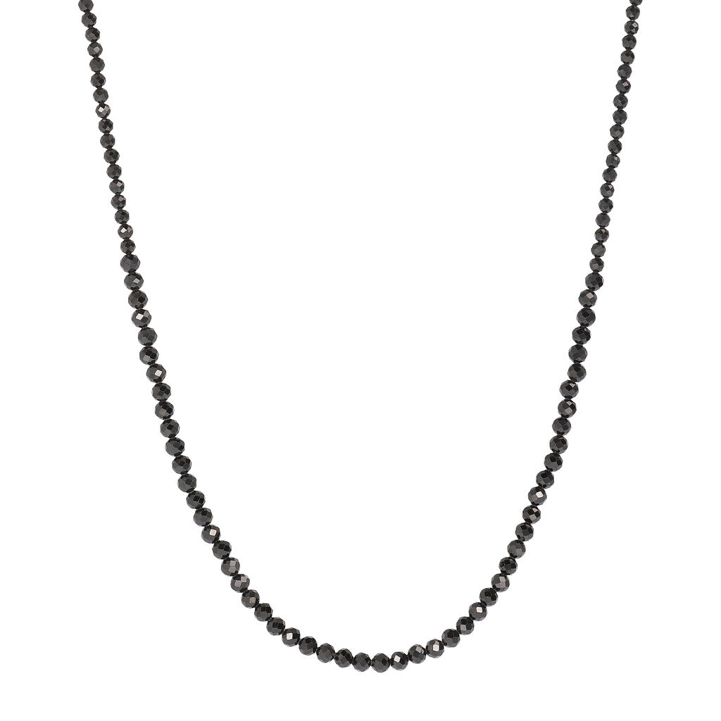 VARIEGATA GRADUATED BLACK SPINEL GEMSTONE NECKLACE - WSBZ01534 con SPINELLO NERO
