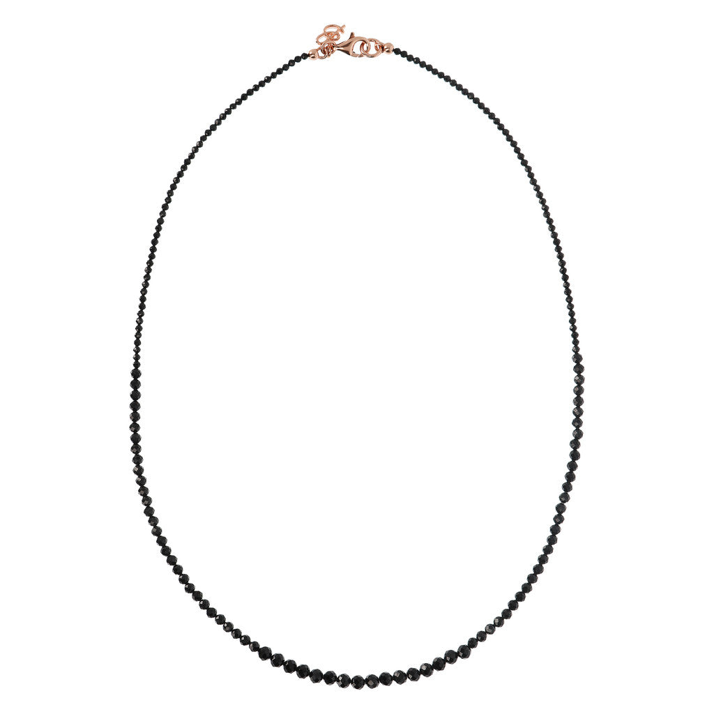 VARIEGATA GRADUATED BLACK SPINEL GEMSTONE NECKLACE - WSBZ01534 intero