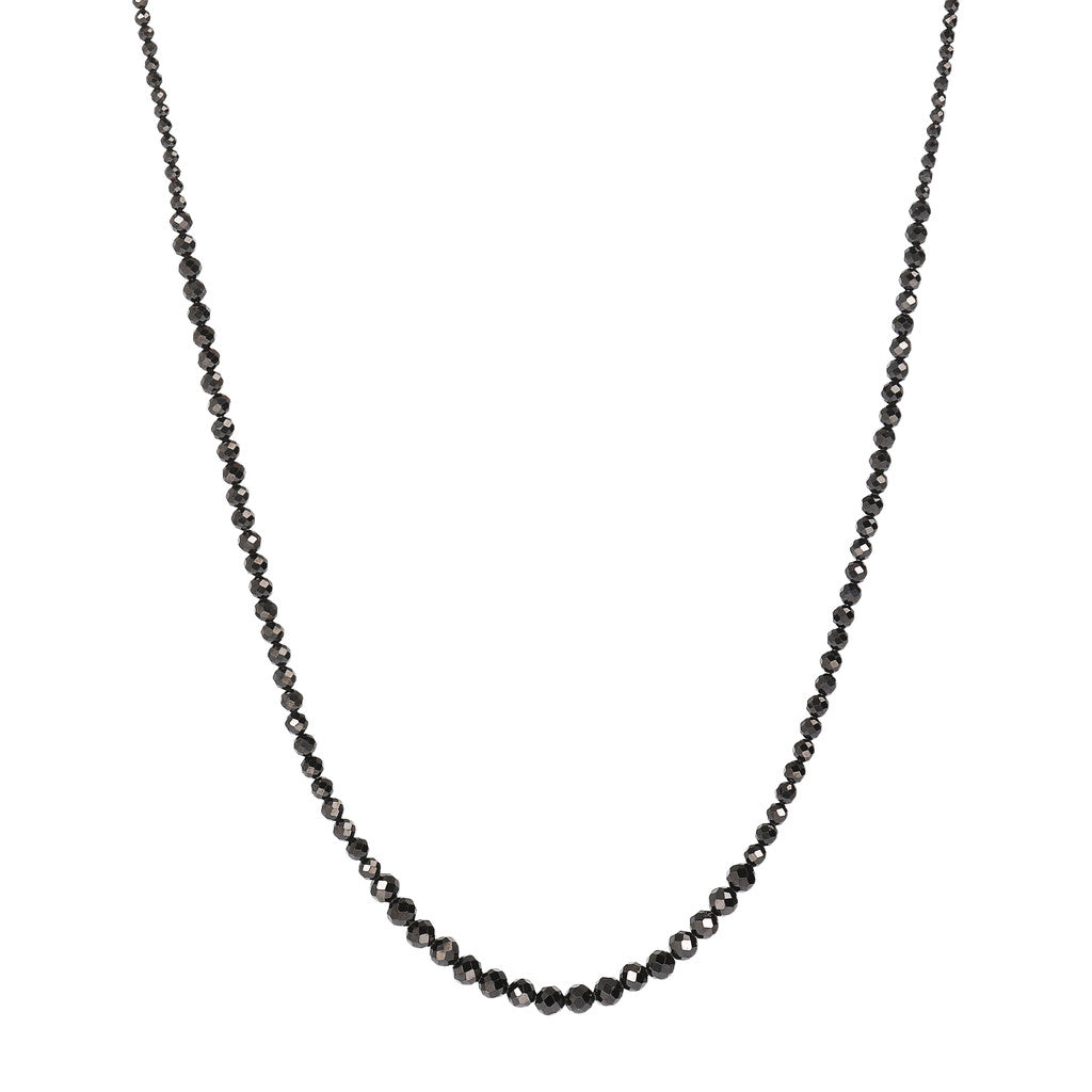 VARIEGATA GRADUATED BLACK SPINEL GEMSTONE NECKLACE - WSBZ01534