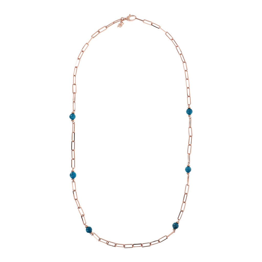 VARIEGATA LONG LINK NECKLACE WITH FACETED GEMSTONE - WSBZ01726 con CALCEDONIO AZZURRO intero