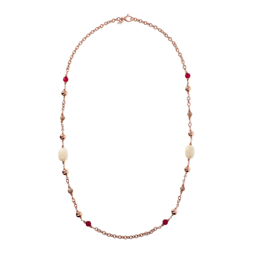 VARIEGATA LONG  STATION NECKLACE  WITH GEMSTONE - WSBZ01621 intero
