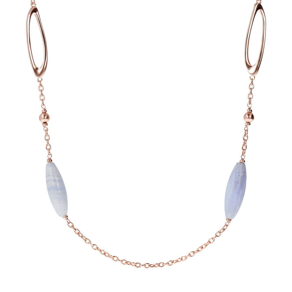VARIEGATA NECKALCE WITH FANCY LINK AND BLUE LACE AGATE BARREL GEMSTONE - WSBZ01491