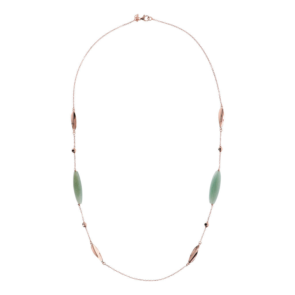 VARIEGATA NECKLACE WITH POLISHED FANCY LINK AND BARREL ALMOND CUT GREEN AGATE GEMSTONE - WSBZ01487 intero