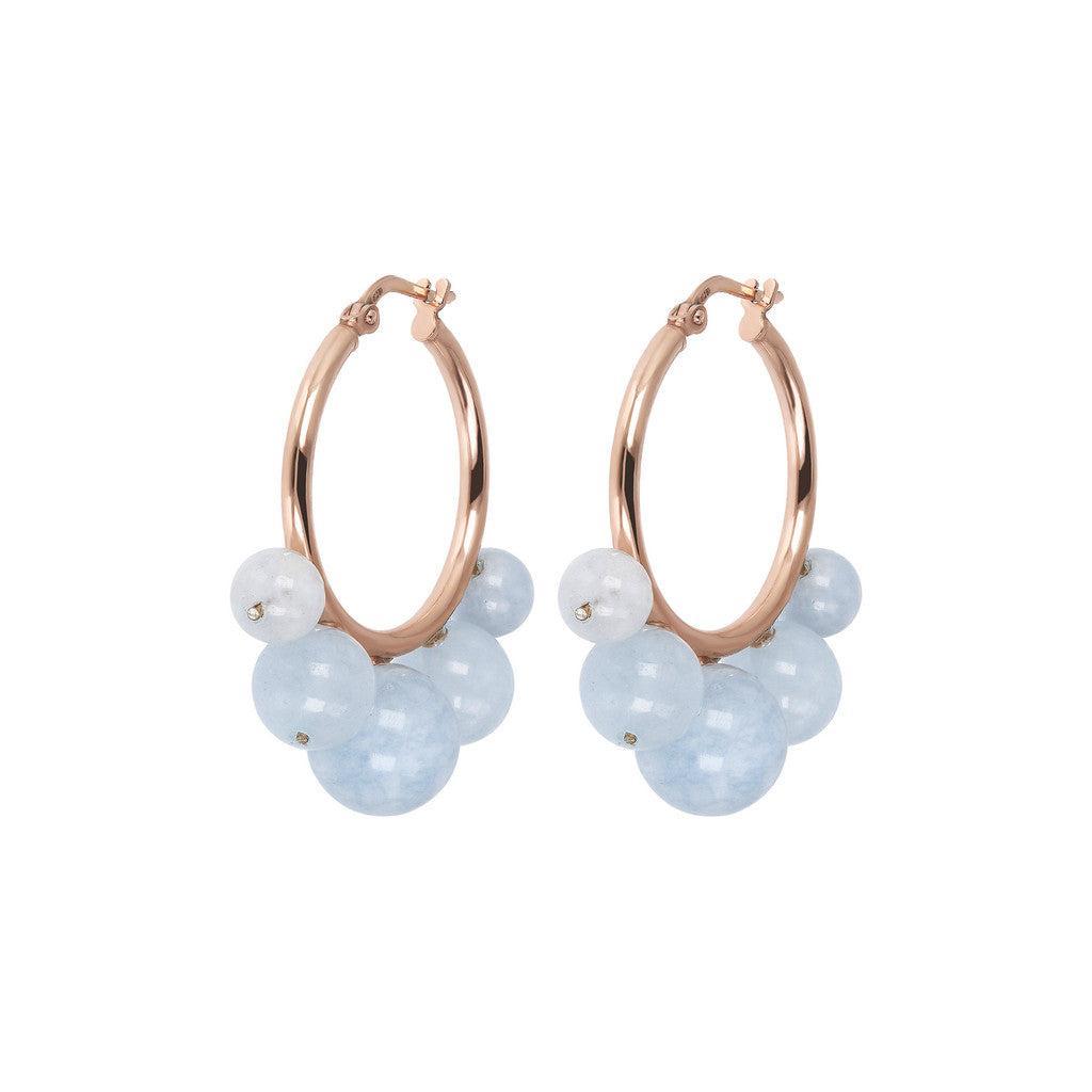 VARIEGATA POLISHED HOOP WITH GEMSTONE EARRINGS - WSBZ01789