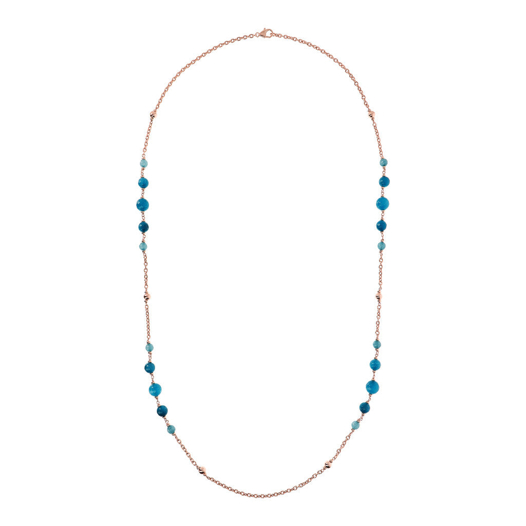 VARIEGATA POLSHED OVAL ROLO WITH PLAIN ROUND GEMSTONE NECKLACE - WSBZ01725 con CALCEDONIO AZZURRO intero