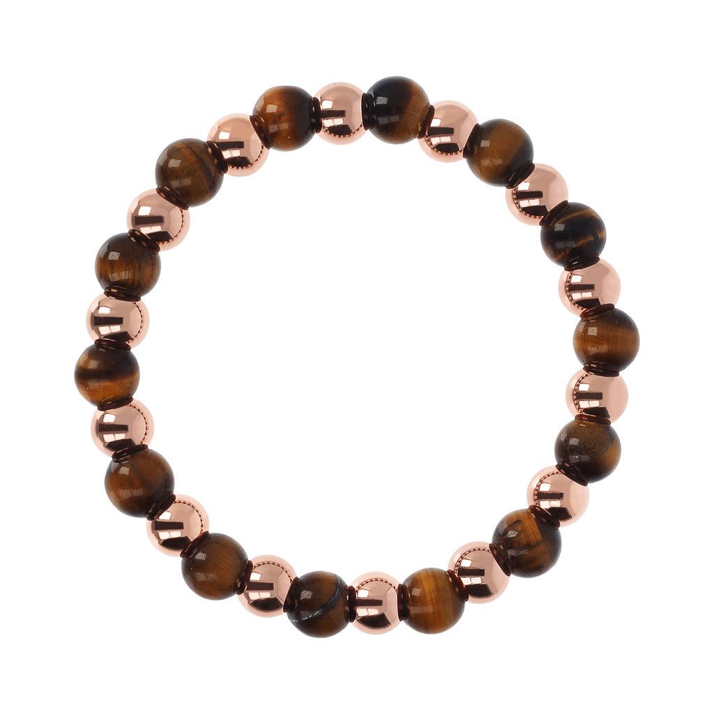 maglia del VARIEGATA ALTERNATE POLISHED BEAD AND PLAIN ROUND GEMSTONE ELASTIC BRACELET - WSBZ01723