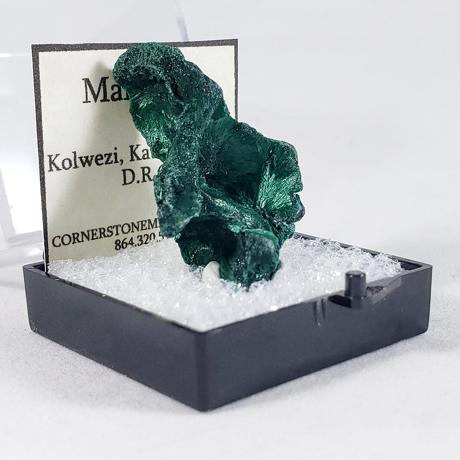 Fibrous Malachite Thumbnail Specimen from Kolwezi, Democratic Republic of Congo