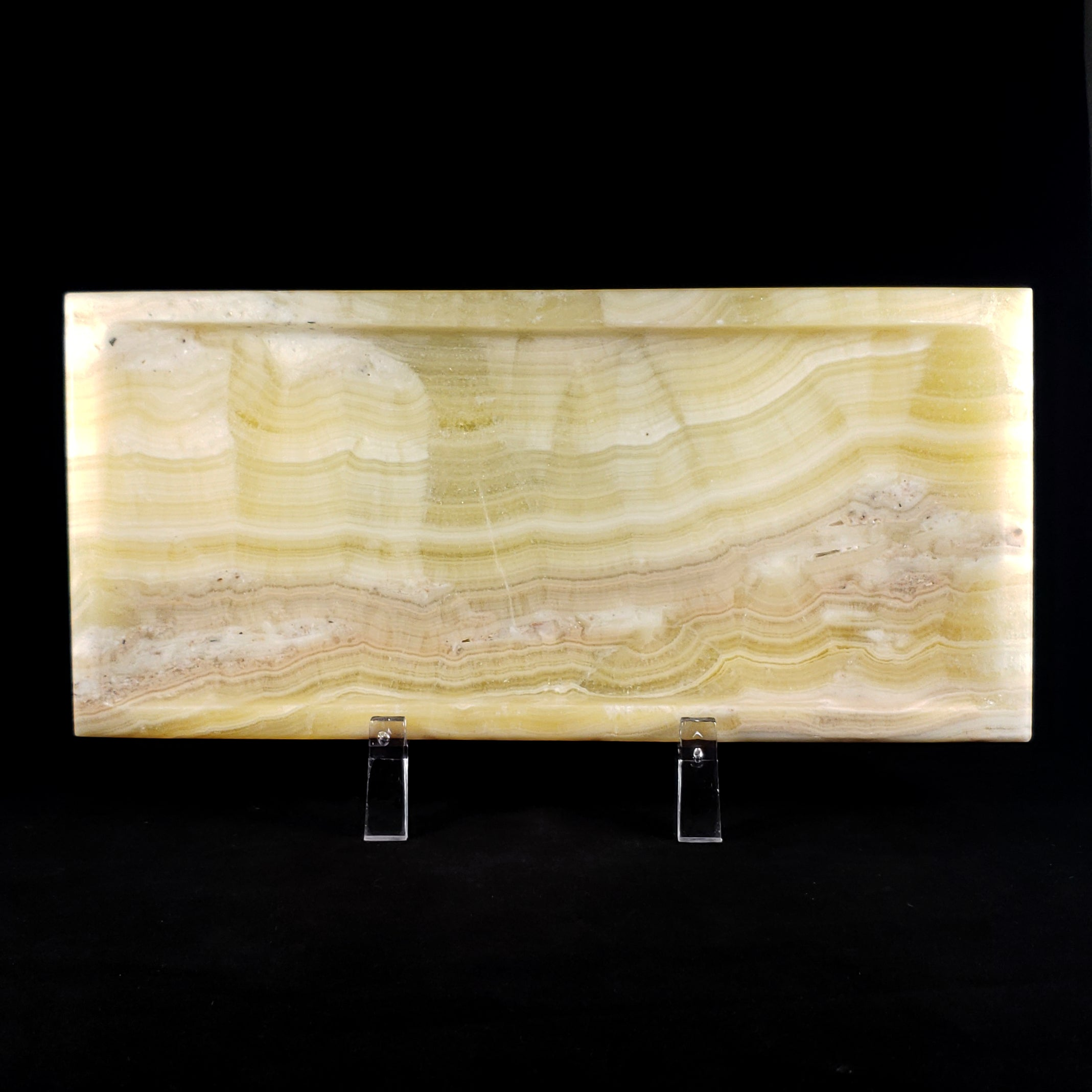 Hand Carved Large Banded Calcite Tray