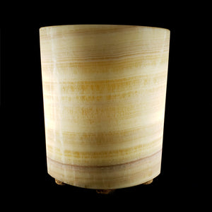 Hand Carved Banded Calcite Lamp from Mexico