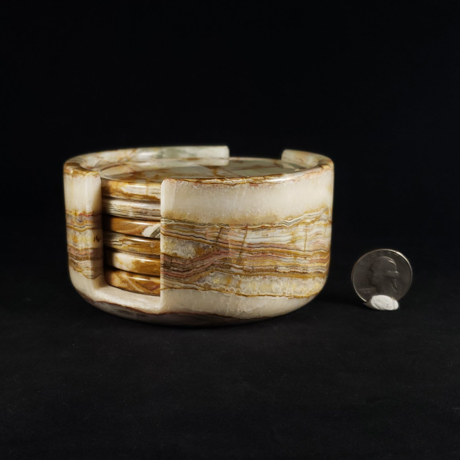 Six Banded Travertine Coasters with Carrying Base