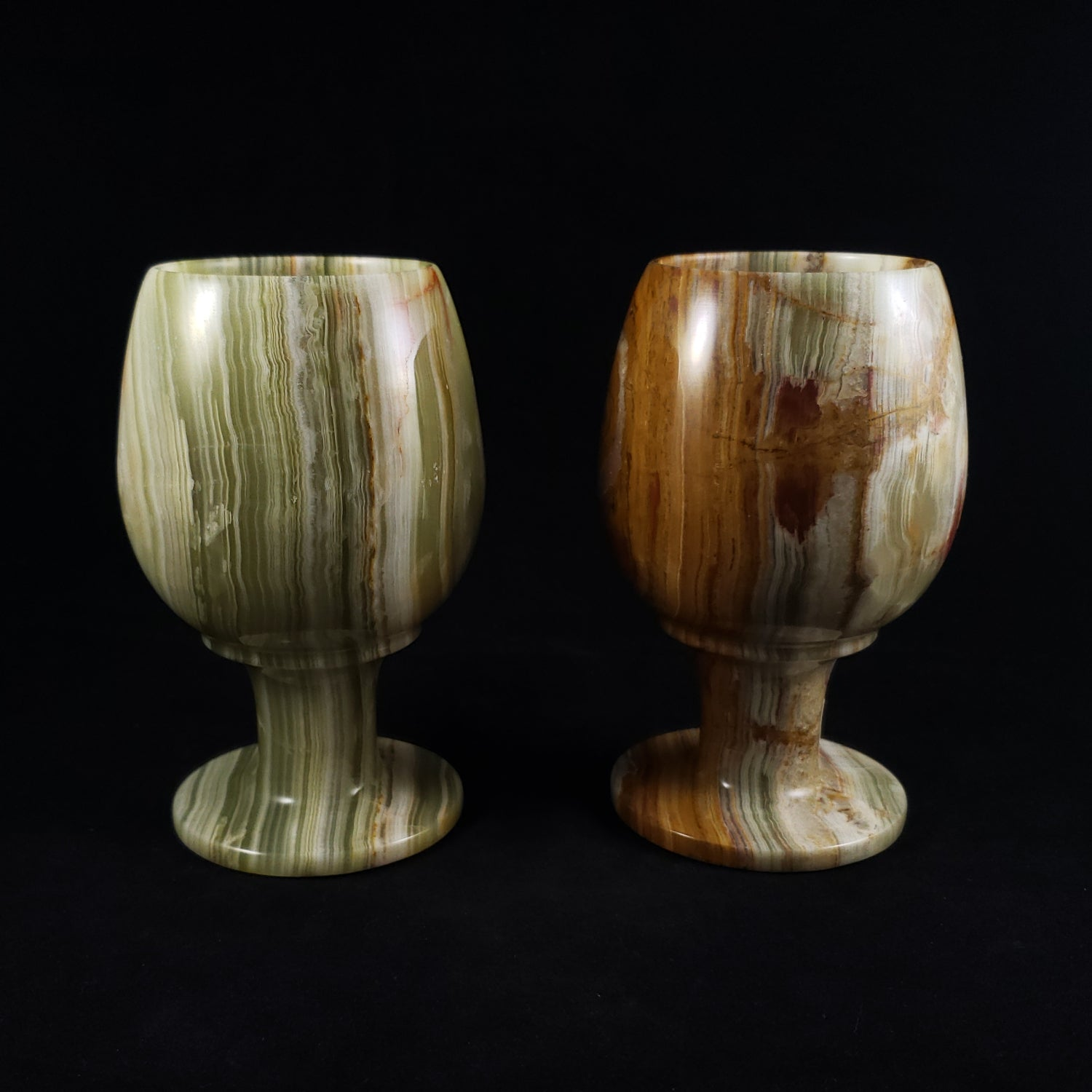 Two Carved Banded Travertine Goblets with Carrying Case