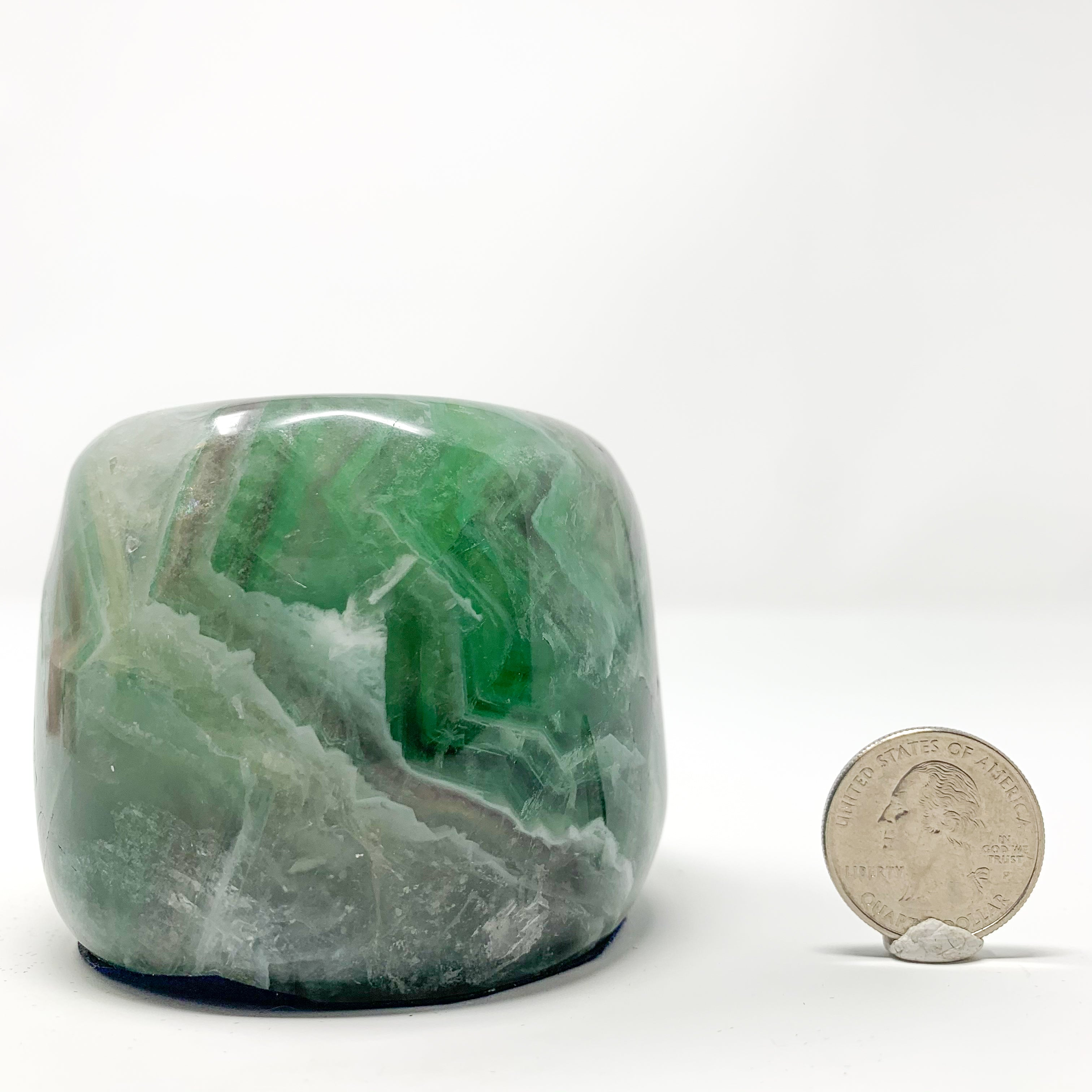 Rainbow Fluorite Candle Holder from Hunan Province, China