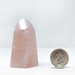 Polished Rose Quartz Point from Minas Gerais, Brazil