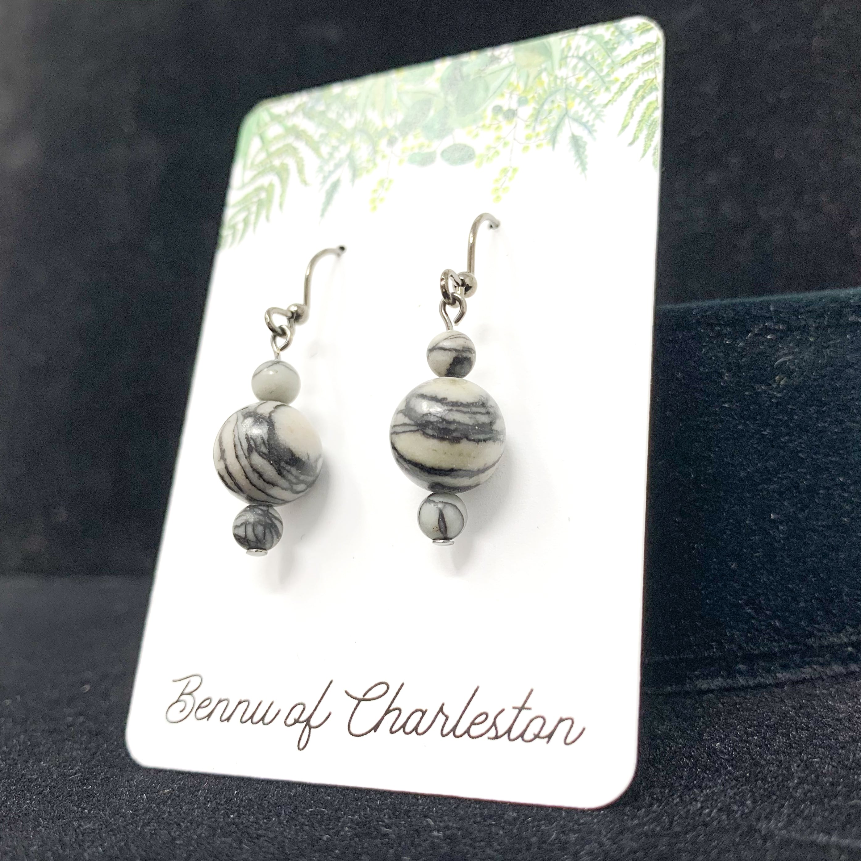 Spider Web Jasper Earrings by Bennu of Charleston