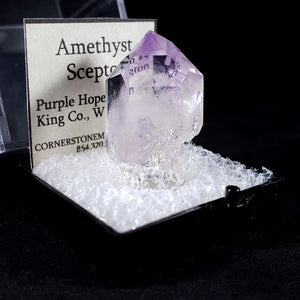 Amethyst Scepter Washington USA - Three Quarter with Label