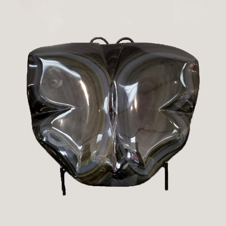 Large Carved Rainbow Obsidian Butterfly
