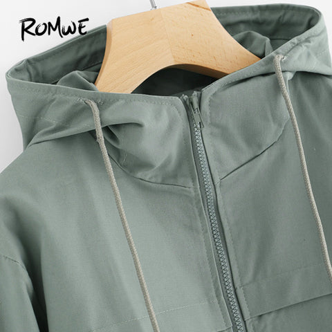 ROMWE Hooded Windbreaker - Womens