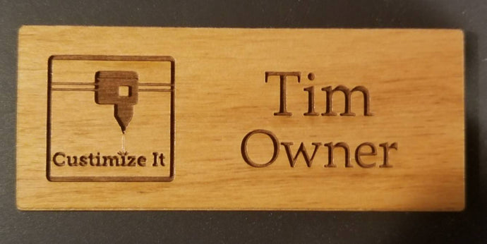 Wood Name Tag, Laser Engraved Magnetic Name Tag