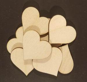 50 Laser Cut Wood Hearts, Crafting Supplies
