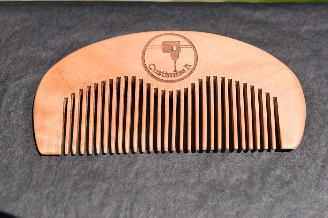 50 Custom Engraved Moon Combs, Thin Beard Comb, Custom Beard Comb